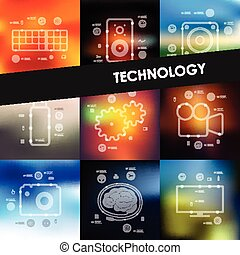 technology timeline infographics with blurred background -...