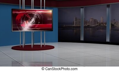 News TV Studio Set- - News TV Studio Set 137 - Virtual Green...
