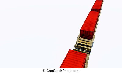 Freight train cargo containers loop - Freight train with red...