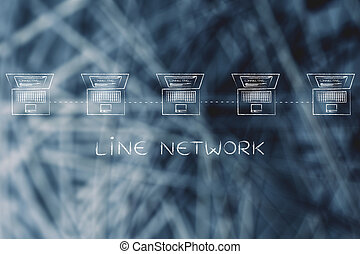laptops connected in a line network structure with caption -...