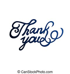 Thank you text isolated on white background