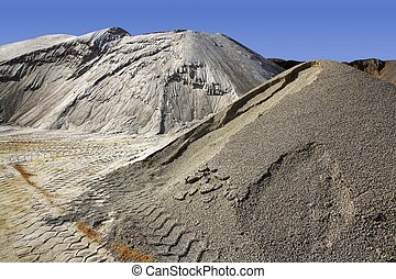 sand quarry mounds of varied sands color - sand quarry...