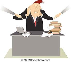 nervosa, homem, e, difícil, trabalhando, Dia,