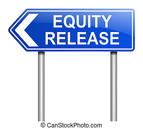Equity release concept - Illustration depicting a sign with...