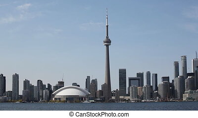 Real time view of the Toronto Skyline on a sunny day - A...