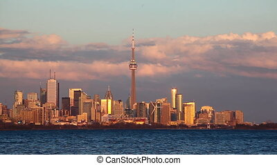 Real time view of the Toronto Skyline at sunset