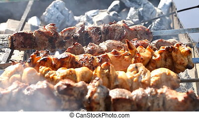 juicy kebab is fried on a skewer - juicy kebab is fried on...