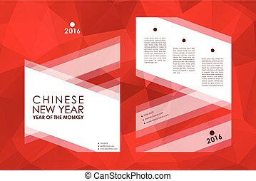 Set of brochure, poster design templates in Chinese New Year...