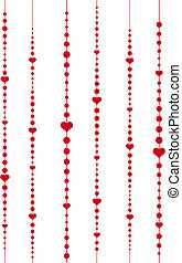 hearts and dots - abstract vector background with red hearts