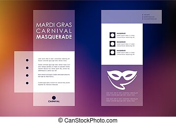 Set of brochure, poster design templates in Mardi Gras style...