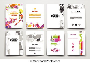 Set of brochure, poster design templates in abstract style -...