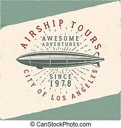 Vintage airship tee design Retro Dirigible poster Airplane...