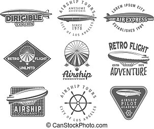 Vintage airship logo designs set Retro Dirigible badges...
