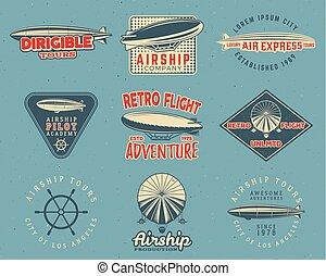 Vintage airship logo designs set Retro Dirigible badges...