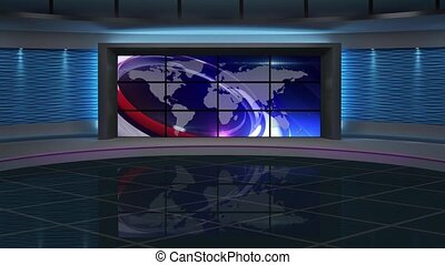 News TV Studio Set 150 - Virtual Green Screen