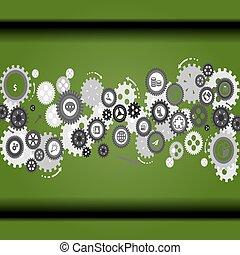 Extracto, vector, dientes, -, gears.,