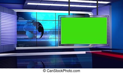 News TV Studio Set - - News TV Studio Set 32 - Virtual Green...