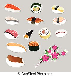 Set icon Japanese food vector