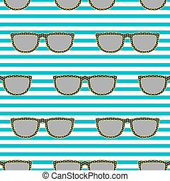 Pop sunglasses retro seamless pattern in neon yellow and blue.