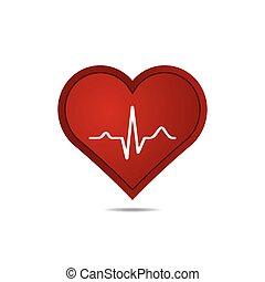 Heart with EKG signal.