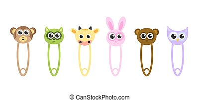 cute baby animals safety pins, pins with animals, cartoon animals pins, vector illustration