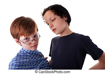 a teen beating a child, isolated on white background. Studio...