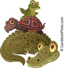 Swamp Squad - Cartoon vector illustration of an alligator, a...