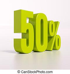 Percentage sign, 50 percent - 3d render: green 50 percent,...