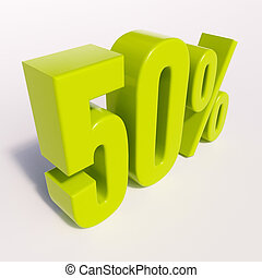 Percentage sign, 50 percent - 3d render: green 50 percent,...