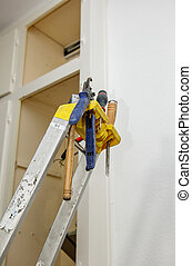 Lader with tools - Ladder with diverse instrument and tools...