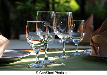 Glasses at restaurant - Table setting at a European...
