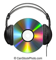 The headphone-carrying CD - A colorfully reflecting CD with...