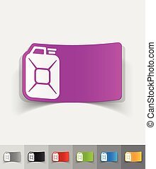 realistic design element jerrycan - jerrycan paper sticker...