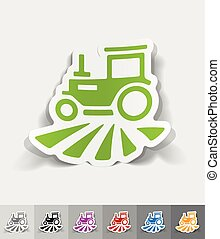 realistic design element tractor - tractor paper sticker...