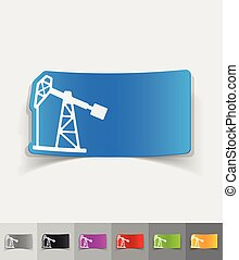 realistic design element oil pump - oil pump paper sticker...