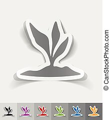 realistic design element root-crop - root-crop paper sticker...