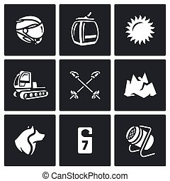 Vector Set of Ski Resort Icons Helmet, Funicular, Weather,...
