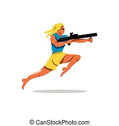 Vector Woman with Gun Illustration. - Girl with rifle...