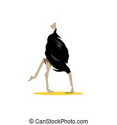 Vector Ostrich Cartoon Illustration. - Scared ostrich...