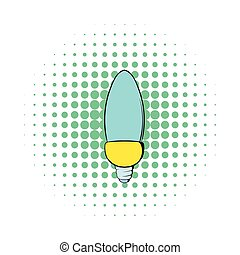 Lamp oval shape icon, comics style - Lamp oval shape icon in...