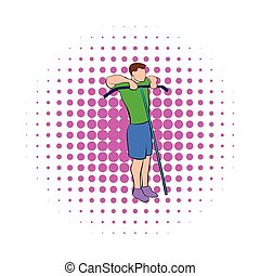 Man exercising on cable machine icon, comics style - Man...