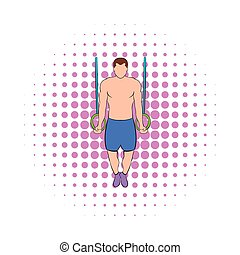 Man training on gymnastic rings icon, comics style - Man...