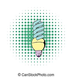 Energy saving lamp icon, comics style - Energy saving lamp...