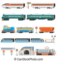 Rail Transport Flat Colorful Icons Set - Rail transport flat...