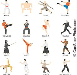 Martial Arts Decorative Flat Icons Set - Martial arts...