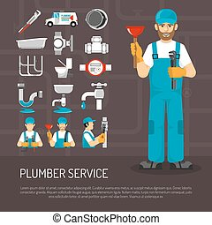 Plumbing Service Decorative Icons Set - Plumbing service...