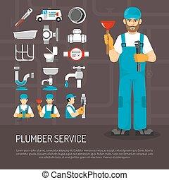 Plumbing Service Decorative Icons Set - Plumbing service...