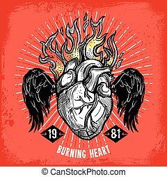 Burning Heart Tattoo Poster - Poster of hand drawn burning...