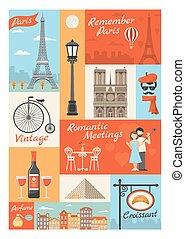 France Paris Vintage Style Icons Set