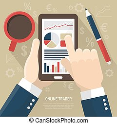 Stock Market On Smartphone - Stock market on smartphone with...